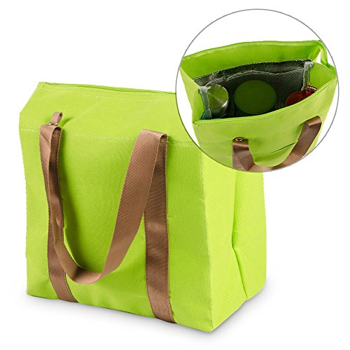 Kmashi® Waterproof Thermal Tote Hot/Cold Cooler Freezer Bag Portable Insulated Travel Zipper Food Organizer Storage Bag Lunch Pouch With Mulit Compartments For Picnic, Camping, Hiking (Green)