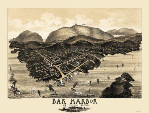 Old Panoramic Maps - Bar Harbor And Mount Desert Island Maine (Me) C.W. Morris 1886 - Matte Art Paper