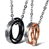 """Opk Jewelry Stainless Steel Macthing Couple Necklaces """"I Will Always Be with You"""" Ring Band Circle Hook-ups Pendent Promise Love Wedding Jewel Gift with Chain"""