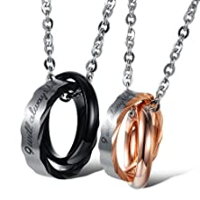 "buy 3Aries Fashion Stainless Steel Black/Rose Gold Plating 2 Rings Mixed Together ""I Will Always Be With You"" Men/Women Lover Pendant Couple Necklace"