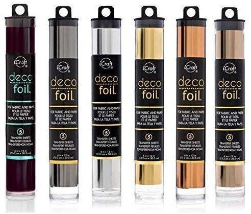 Deco Foil - Transfer Sheets - Black, Pewter, Silver, Gold, Rose Gold, and Copper - Bundle of 6Metal Colors (2) (Tamaño: 2)