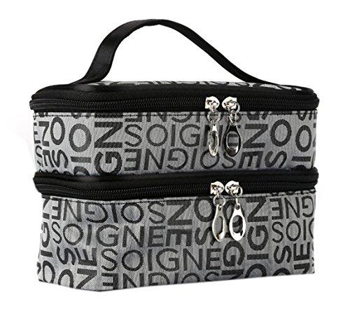 EOZY-Borsa Cosmetici Due-Strato Beauty Case da Viaggio con Cerniera e Lettera Sacco per Accessori (Grigio)
