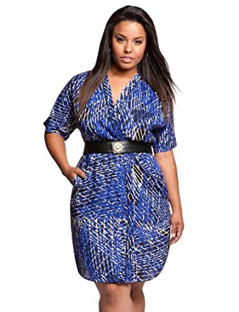 eloquii Print Wrap Dress Blue/Grey/Black Print 24W