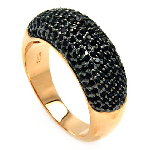 Black Rhodium and Rose Gold Plated Two Tone Sterling Silver Micro Pave Black Cubic Zirconia 8mm Ring Band (Sizes 5 to 9) - Size 5