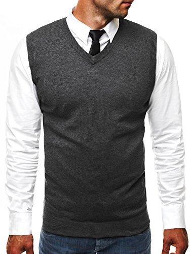 OZONEE Herren Pullunder mit V-Ausschnitt Pullover...