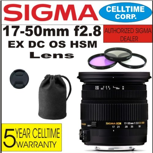Sigma 17-50Mm F2.8 Ex Dc Os Hsm Zoom Lens For Canon Digital Slr Cameras + 3 Piece Filter Kit With Case + Lens Case + Celltime 5 Year Warranty