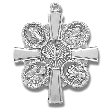 Sterling Silver Medal 4-Way Jesus Mary St. Joseph St. Christopher Cross with 24
