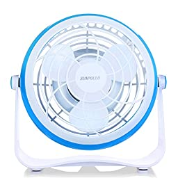 SUNPOLLO Desktop USB Fan, Mini Table Fan for Home and Office (USB Powered, Large Airflow, Personal Cooling, Quiet Operation, 4\'\').