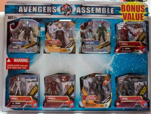 Avengers Assemble Bonus Value 8 Pack Includes: Crossbones, Thor, Red Skull, Mark VI, Mark II, Mark III Marve's Destrouer, Mark I