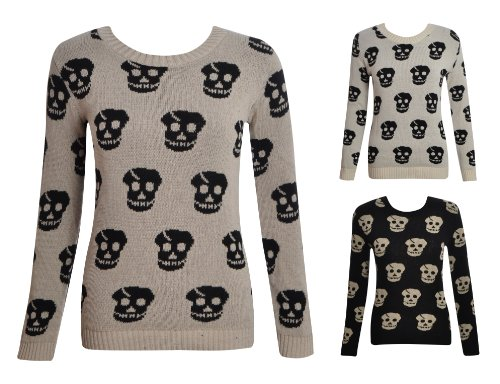 Womens Ladies Long Sleeve Knitted Crew Neck Skull