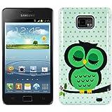 kwmobile® Hardcase Eulen Design für Samsung Galaxy S2 i9100 / S2 PLUS i9105 in Grün Weiß