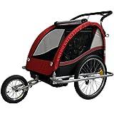Convertible Jogger Remorque à Vélo 2 en 1, pour enfants - coleur: rouge/noir 602-D01