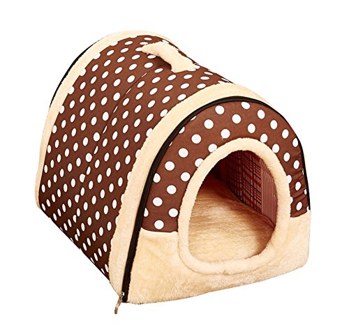 Freerun Portable Soft Sided Plush Pillowed Indoor Small Dog or Cat Convertible Pet House / Bed - DarkDot, S (Tuff Shed Door Handle compare prices)