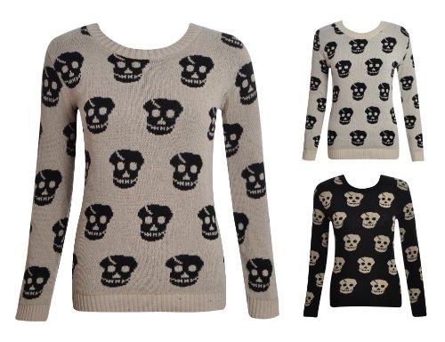 Womens Ladies Long Sleeve Knitted Crew Neck Skull Jumper Knitwear Top 8 10 12 14