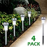 "VIBE E-ssential 4-Pack Solar Powered 9"" LED Garden Stake Lamps - Lights Up Pathway/Walkways"