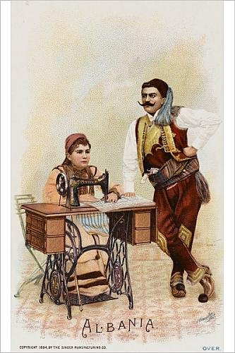 Photographic Print Of Albanians Using A Singer Sewing Machine