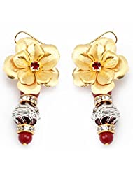 Aarya 24kt Gold Foil FloweR With Mina Dangler Earring For Women - B00LBZS1FY