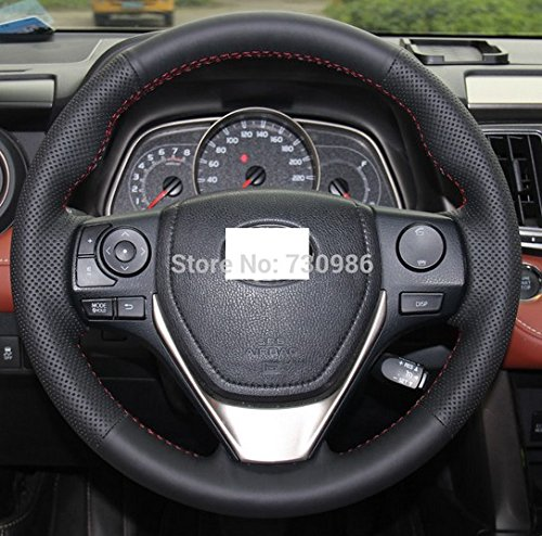 Hand Sewing Black Genuine Leather Steering Wheel Cover for for 2014 2015 2016 Toyota Corolla L / 2014 2015 2016 Toyota Corolla LE / 2014 2015 2016 Toyota Corolla S / 2013 2014 2015 2016 Toyota RAV4 (Steering Wheel For Toyota Corolla compare prices)