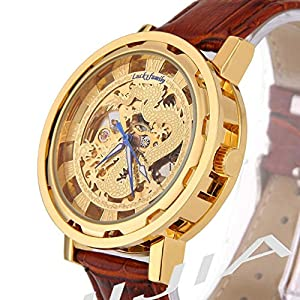 Gift In Box Gold Dragon Skeleton Dial Brown Genuine Leather Atomatic Mechanical Men's Watch G8118-01