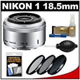 Nikon 1 18.5mm f/1.8 Nikkor Lens (Silver) with 3 UV/CPL/ND8 Filters + Accessory Kit for J1, J2 & V1 Digital Camera