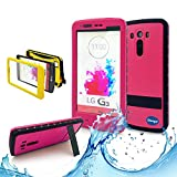 New LG G3 III Ip 68 Untra Kick-stand Waterproof Case,Nika Shop Full Body 6.6 Ft Underwater Attached Screen Protector Waterproof Water Resistant Hard Shell Heavy Duty Case Cover for Lg G3 III Phone, Defender Dirtproof Dustproof Snowproof Sweatproof Shockproof Hard Armor Triple Layer Protective Protection Cover Skin Case for Lg G3 Iii+ Free Screen Protect + Carry Strap (Nika shop-Pink)