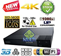 SONY BDP-S6700 2k/4k Upscaling - Bluetooth- 2D/3D - Wi-Fi - Multi System Region Free Blu Ray Disc DVD Player - PAL/NTSC - USB - 100-240V 50/60Hz for World-Wide Use & 6 Feet HDMI Cable by Sony