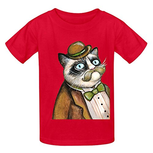 dapper-grumpy-cat-cats-with-moustaches-youth-crew-neck-graphic-tee-red