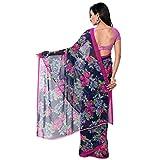 Jaanvi Fashion Womens Chiffon Saree (dolphin-01_Blue)