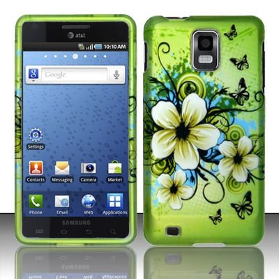 Samsung Infuse 4G Accessory -Green Hibiscus Hawaii flower Design Protective Hard Case Cover for AT&T