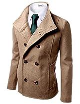 Doublju Mens Wool Jacket with Double Breast BEIGE (US-L)