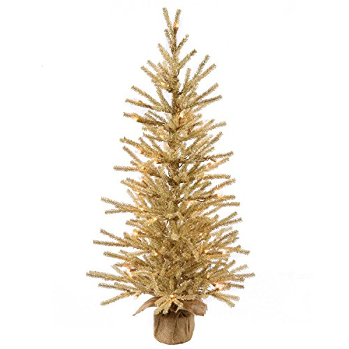 4' Champagne Gold Artificial Christmas Tree with Burlap Base - Clear Dura-Lit Lights