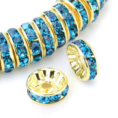 Beadnova 100 Pcs Gold Plated Crystal Rondelle Spacer Beads 8Mm (#229 Blue Zircon)