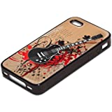 My Music 10020, Guitar, Black Silicone Hybrid Case Cover Protector Skin Shell Bumper with Personalised Image for Apple iPhone 4 4S.