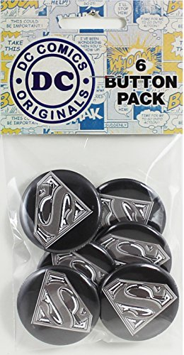 "Button set DC Comics Originals Superman Logo 6 Individual Loose Buttons, 1.25"", Blue"
