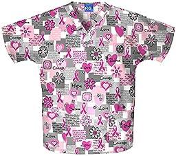 Scrub H.Q. by Cherokee Women\'s Discount V-Neck 2-Pocket Tunic Style Breast Cancer Awareness Print Scrub Top XX-Large Print