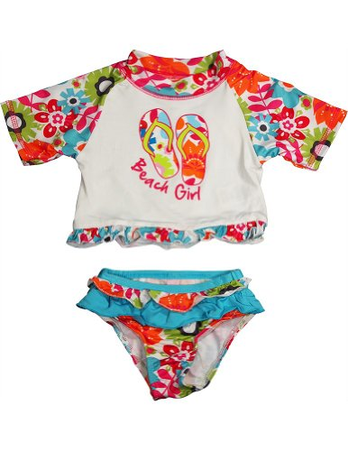 Pink Platinum - Baby Girls 2 Pc Swimsuit, White, Multi 33447-18Months front-983118