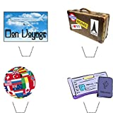 Novelty Bon Voyage / Travel Mix 12 Edible Stand up wafer paper cake toppers (5 - 10 BUSINESS DAYS DELIVERY FROM UK)