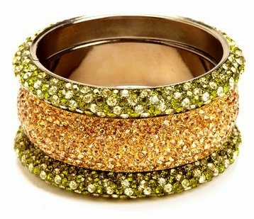 Set of 3 Stacked Bling-tastic Crystal Metal Bangles (Gold/green)