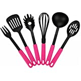 Fontaine 6-pieces Premium Cooking Utensil Set Nylon Tool and Gadget Set Bakeware Spatula Pink 12 Inch