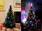 6.5 FT ARTIFICIAL GREEN PRE-LIT MULTI COLOR LED FIBER OPTIC CHRISTMAS TREE WITH STAR TOPPER