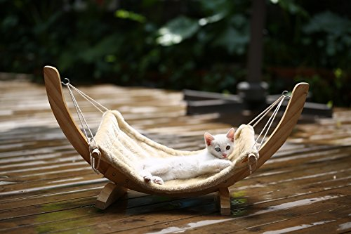 Off-to-College-Savings-Cat-Hammock-Leisure-Time-Bed-Sofa-Plush-Pet-Cushion-Mat-with-Solid-Wood-Stand-Beige