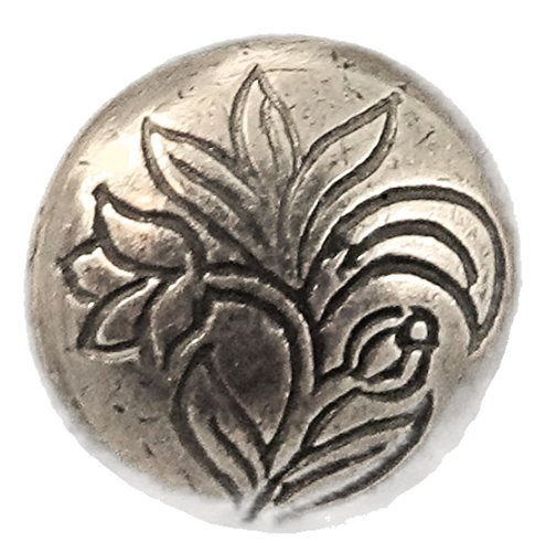 Håndstøpte Knapper Ornate Flower Pewter Button 9/16""