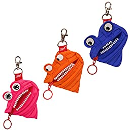 ZIPIT Monster Mini Pouch Coin Purse, 3-Pack (Blue, Orange, Pink)