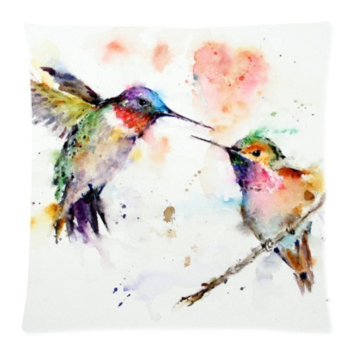 Beautfuldecor Home DecorationA Pairs Of Birds Frolicking Pillowcase 16X16 Inch Throw Cushion Cover