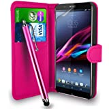 Sony Xperia Z2 Pink Leather Wallet Flip Hülle Tasche + Touch Pen Stylus + Display Schutzfolie & Poliertuch
