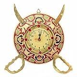 UFC Mart Rajasthani Real Brass Sword Armour Wall Clock