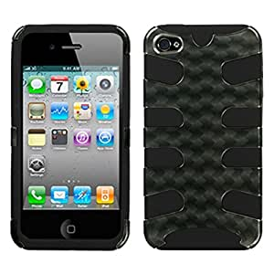 MyBat IPHONE4AVHPCSK2DIM749NP Fishbone Protective Case for iPhone 4 - 1 Pack - Retail Packaging - Metal Plaid/Black