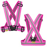 The Tuvizo Reflective Vest provides High Visibility day & night for Running, Cycling, Walking etc. This easily adjustable, lightweight, elastic Reflective Belt Vest/Reflective Running Vest/Cycling Vest/Safety Vest gives a versatile comfortable fit over sports gear or outdoor clothing. PINK S/M/L