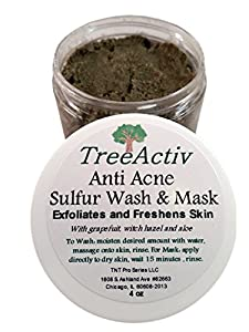 TreeActiv Anti Acne & Rosacea Treatment Sulfur Mask Plus Rhassoul, Bentonite Clay Mask with Witch Hazel & Aloe Vera - Refreshing Lemon Scent (1 Jar)