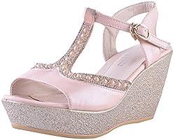 Deccan Shoes Girls Pink Satin Sandals (36 EU)